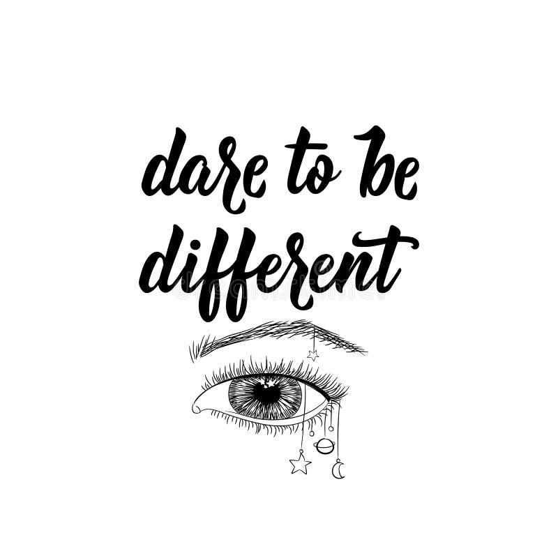Desafio a ser diferente Ilustra??o do vetor lettering Ilustra??o da tinta ilustração do vetor