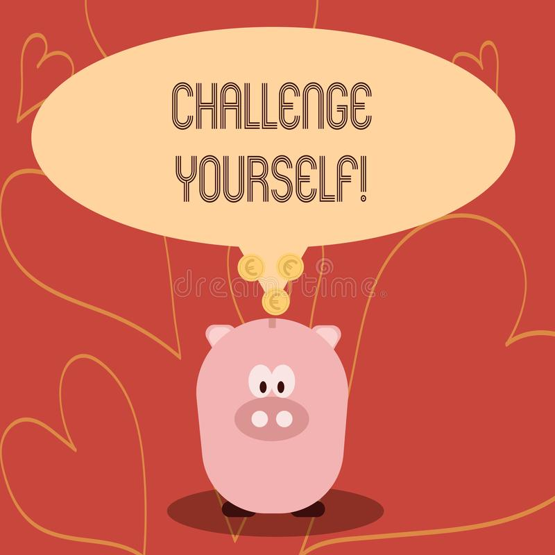 Desafio você mesmo da escrita do texto da escrita Desafio forte superado significado da melhoria do incentivo da confiança do con ilustração stock