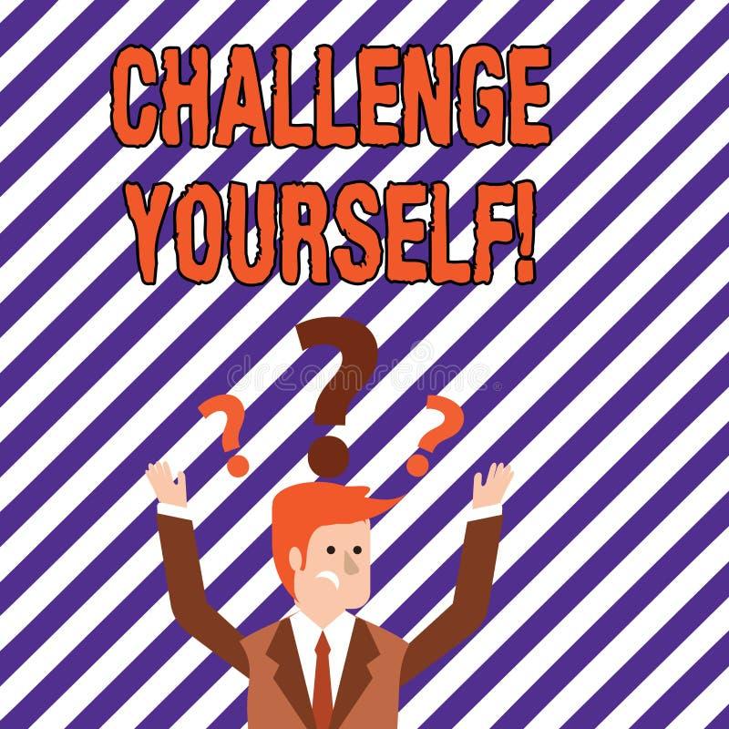 Desafio você mesmo da exibição do sinal do texto Foto conceptual desafio forte superado da melhoria do incentivo da confiança ilustração stock