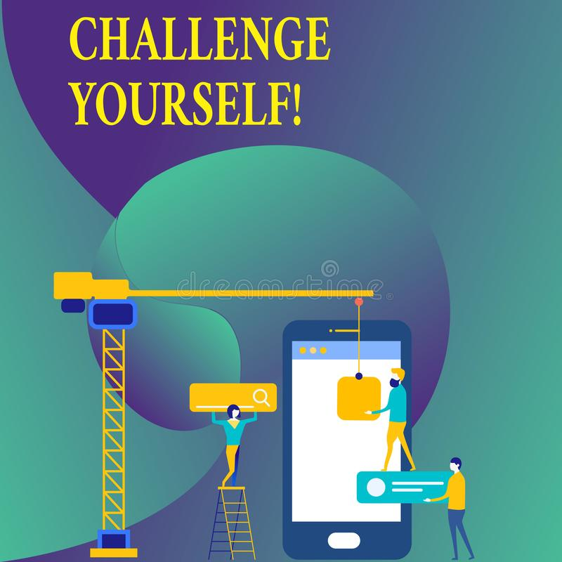 Desafio você mesmo da exibição do sinal do texto Foto conceptual desafio forte superado da melhoria do incentivo da confiança ilustração royalty free