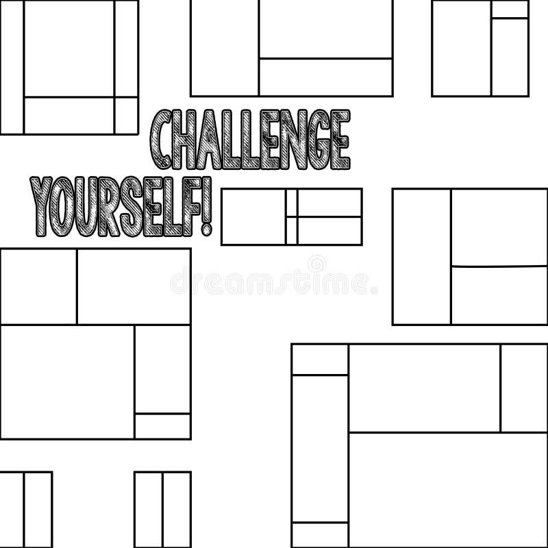 Desafio você mesmo do texto da escrita Desafio forte superado significado da melhoria do incentivo da confiança do conceito ilustração royalty free