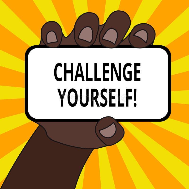 Desafio voc? mesmo do texto da escrita da palavra O conceito do negócio para ajustar uns padrões mais altos aponta para o close u ilustração royalty free