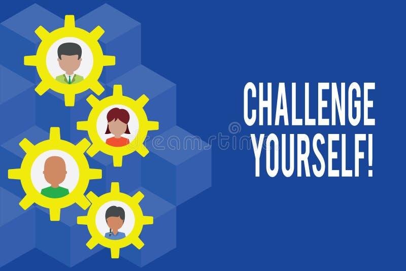 Desafio voc? mesmo do texto da escrita da palavra O conceito do negócio para ajustar uns padrões mais altos aponta para o Gearsha ilustração stock