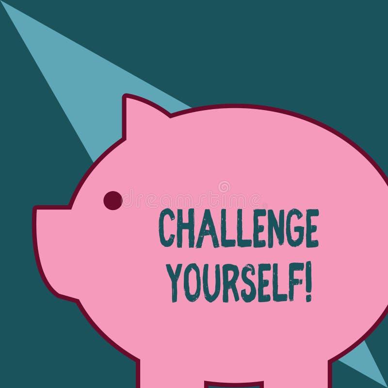 Desafio voc? mesmo do texto da escrita da palavra O conceito do negócio para ajustar uns padrões mais altos aponta para o rosa en ilustração stock