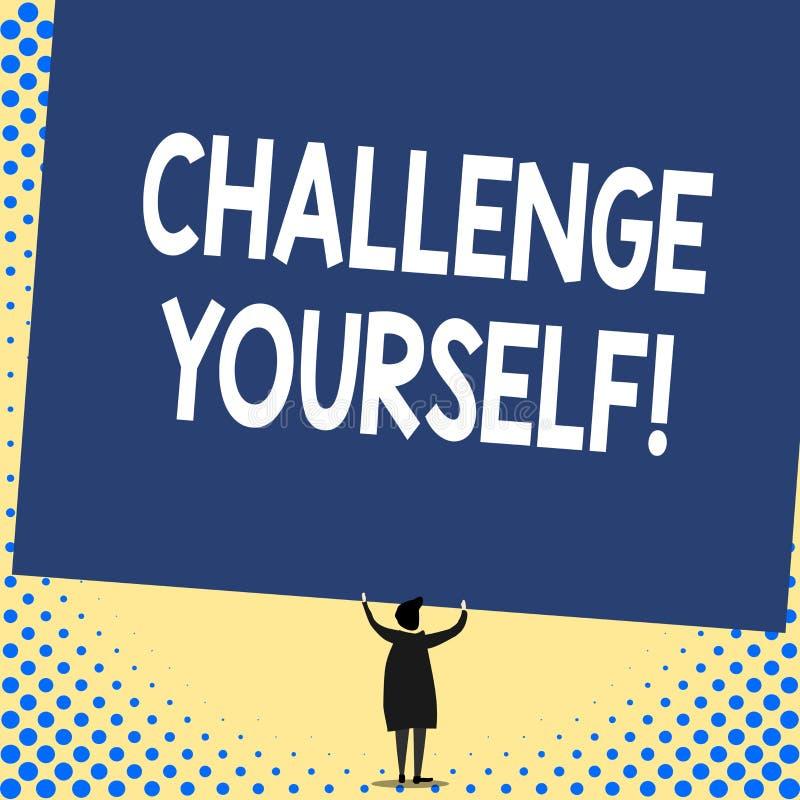 Desafio voc? mesmo do texto da escrita da palavra O conceito do negócio para ajustar uns padrões mais altos aponta para a vista t ilustração do vetor