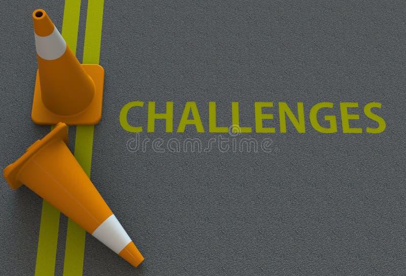 Desafios, mensagem na estrada ilustração royalty free