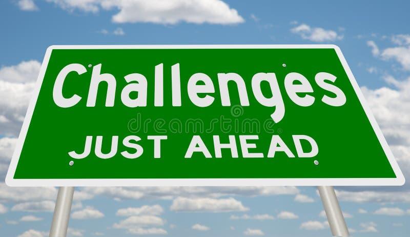 Desafios verdes apenas adiante ilustração do vetor