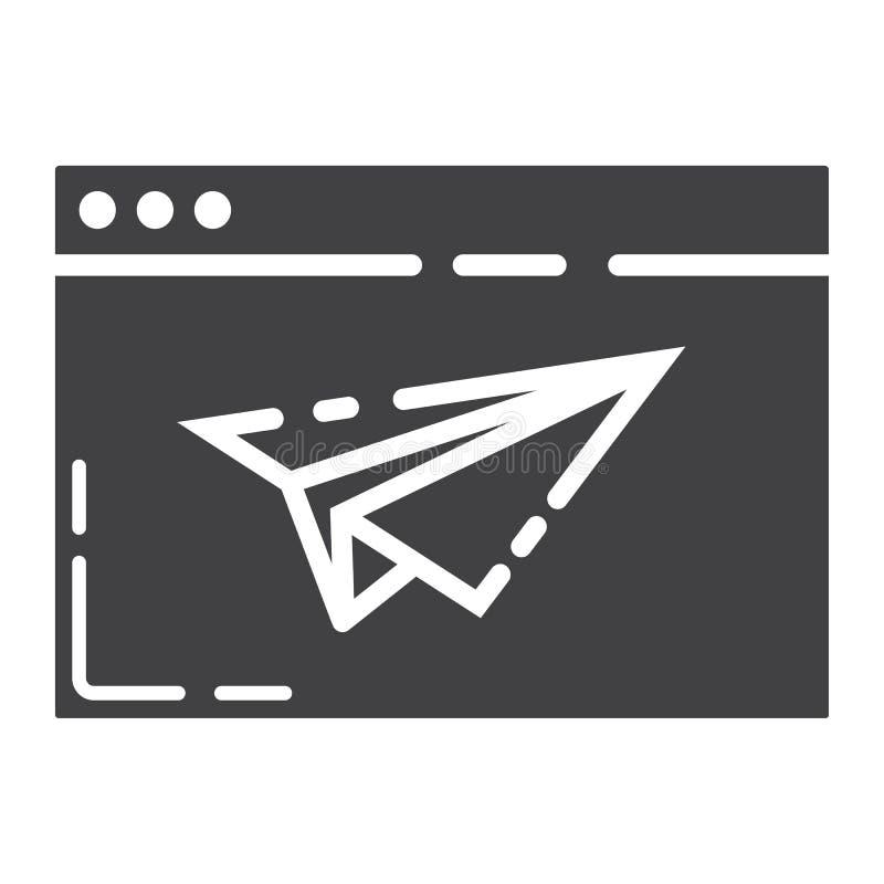 Desantowa strona glifu ikona, seo i rozwój, ilustracja wektor