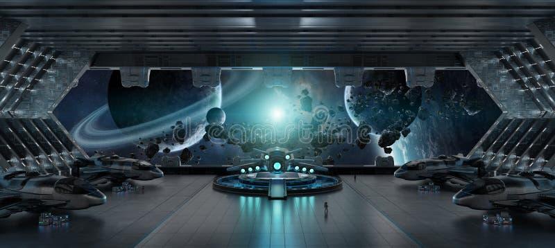 Desantowego paska statku kosmicznego 3D renderingu wewnętrzni elementy to i royalty ilustracja