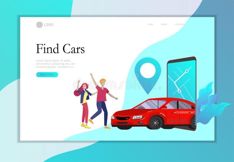 Desantowego strona szablonu miasta mobilny transport, online samochodowy udzielenie z kreskówka charakteru rodzinnymi ludźmi i sm royalty ilustracja