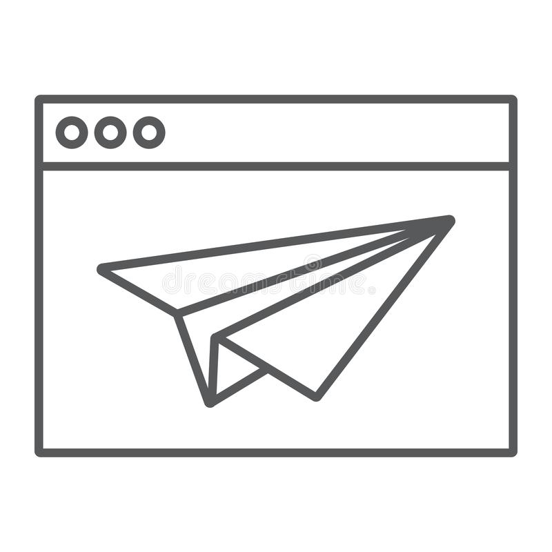 Desantowej strony cienka kreskowa ikona, wyszukiwarka i strona, royalty ilustracja