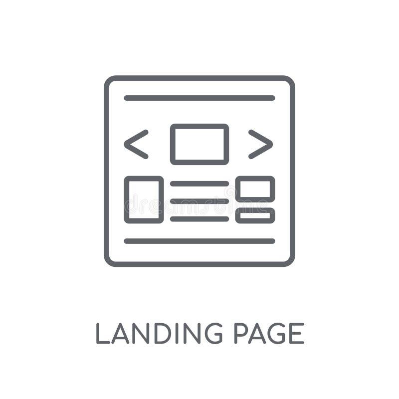 Desantowej strony liniowa ikona Nowożytny konturu lądowania strony logo conce royalty ilustracja