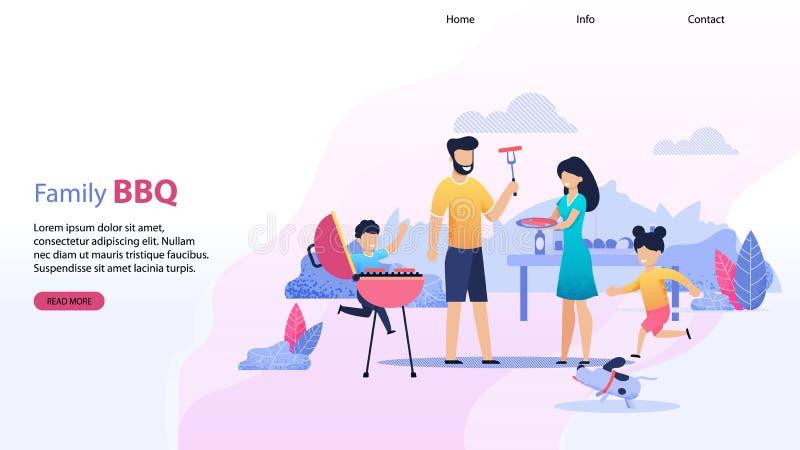 Desantowej strony Płaski szablon z Rodzinnym BBQ tekstem ilustracja wektor