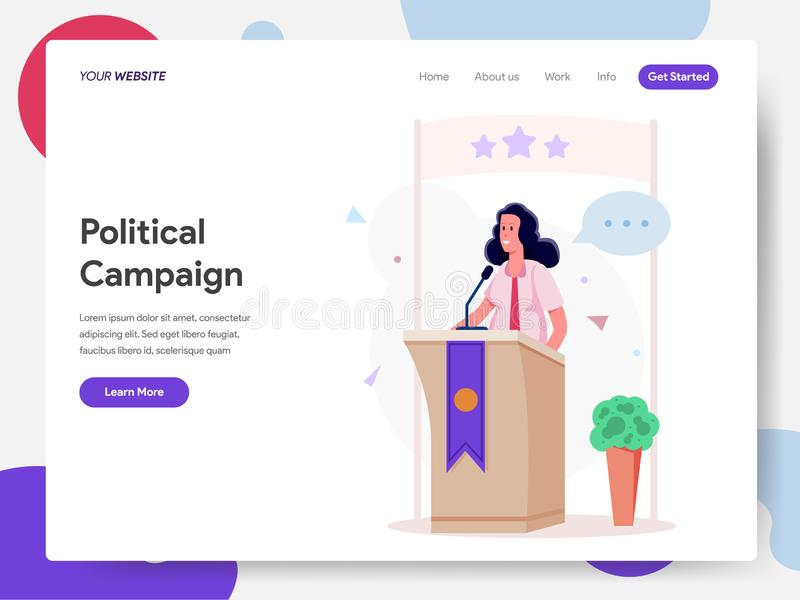 Desantowy strona szablon Żeńska polityk kampania na podium ilustracji pojęciu Nowożytnego projekta pojęcie strona internetowa pro ilustracji
