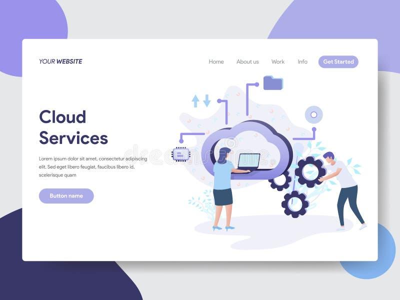 Desantowy strona szablon chmura Usługuje Ilustracyjnego pojęcie Nowożytny płaski projekta pojęcie strona internetowa projekt dla  ilustracja wektor