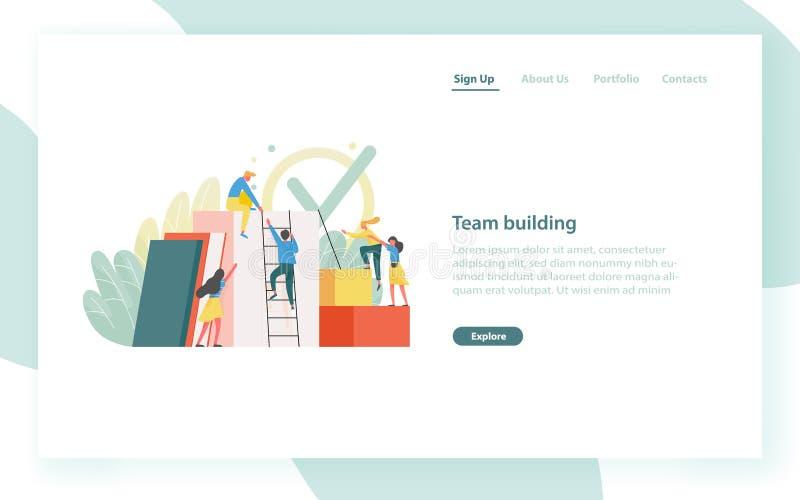 Desantowy strona szablon z grupą urzędnicy, pracownicy lub urzędnicy wspinaczkowi w górę wpólnie, i wspierający each inny ilustracji