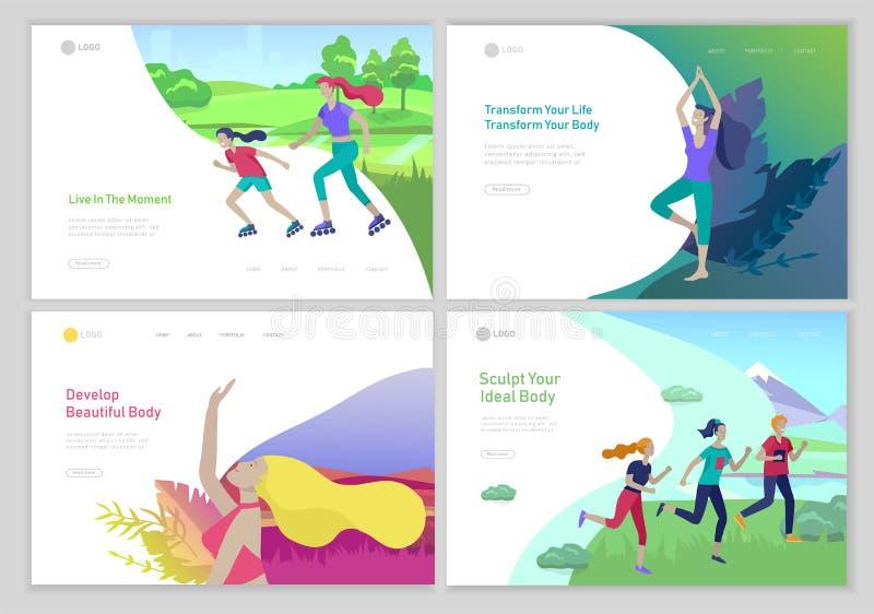 Desantowy strona szablon z ludźmi grupuje bieg, joga trening, rollerblading Rodzina i dzieci wykonuje sporty ilustracja wektor