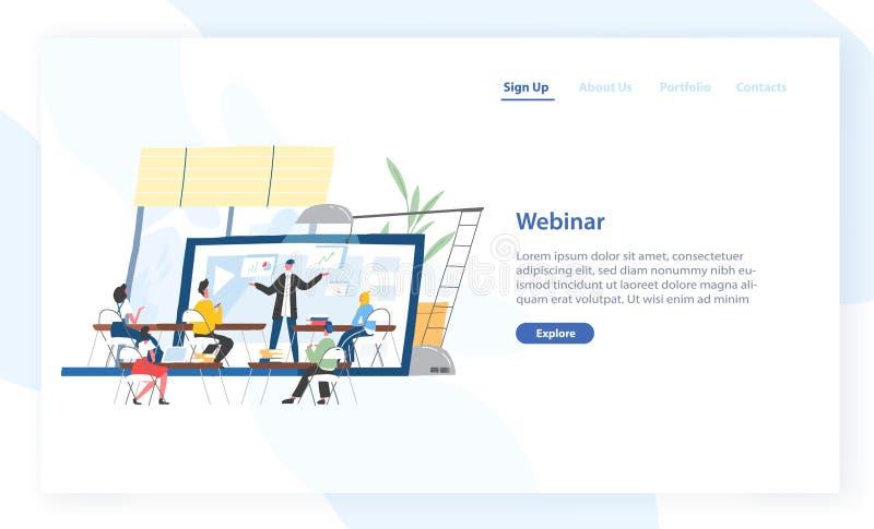 Desantowy strona szablon z ludźmi siedzi przed wykładowcą wystawia na ekranie gigantyczny laptop Webinar, online royalty ilustracja