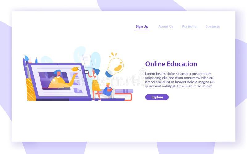 Desantowy strona szablon z malutką dziewczyny pozycją przed gigantycznym laptopem i patrzeć ekran Dystansowy uczenie royalty ilustracja