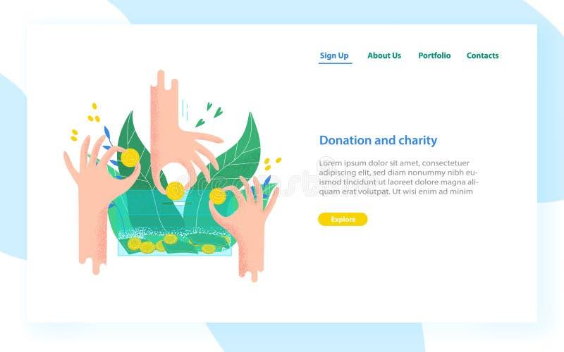Desantowy strona szablon z rękami trzyma i stawia one w pieniądze pudełko monety i rachunki Dobroczynność projekt, darowizna ilustracja wektor
