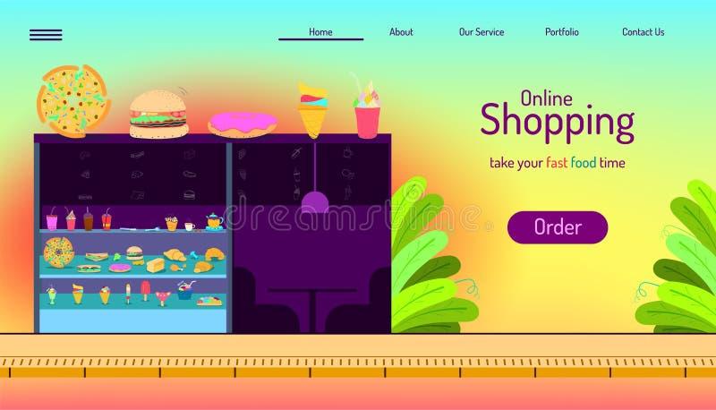 Desantowy strony strony internetowej szablon dof r?ce karty ogniska p?ytki zakupy online bardzo bierze twój rozkazu fasta food cz royalty ilustracja