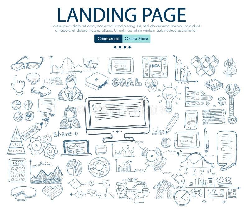 Desantowy strony pojęcie z Biznesowym Doodle projekta stylem: firma royalty ilustracja