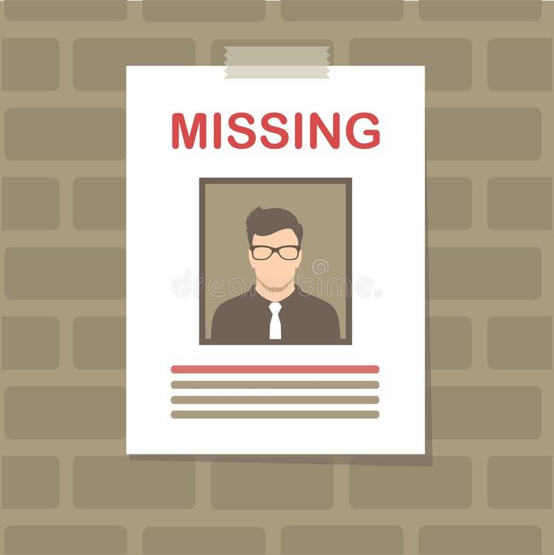 desaparecido, cartel querido gráfico, anónimo perdido stock de ilustración