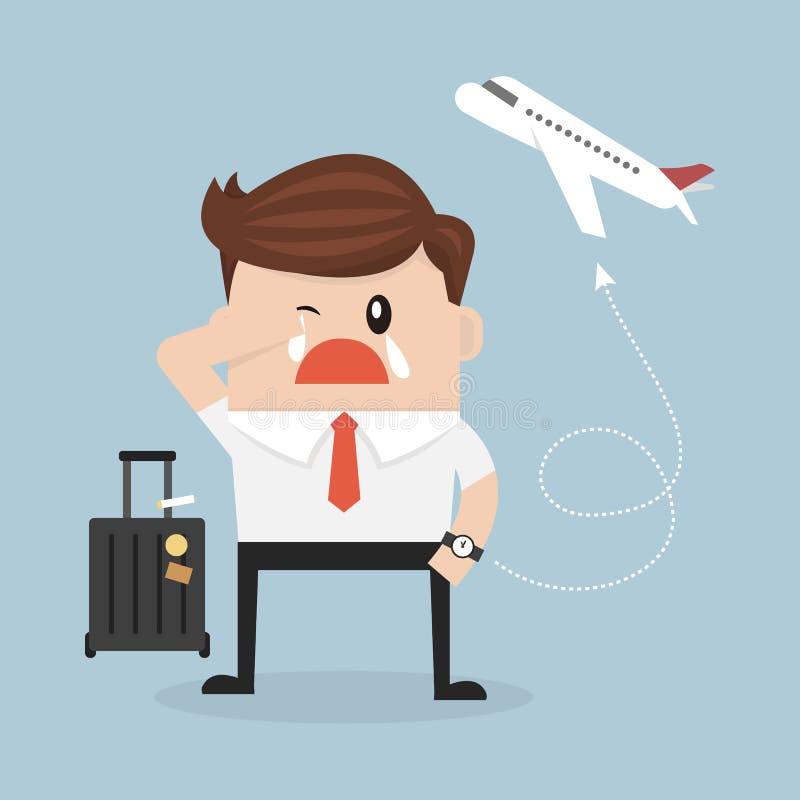 Desaparecidos planos do homem de negócios o avião ilustração stock
