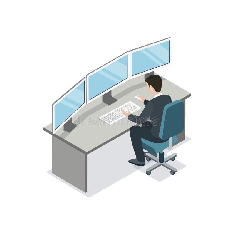 Desarrollador de software que cifra el icono isométrico 3D ilustración del vector