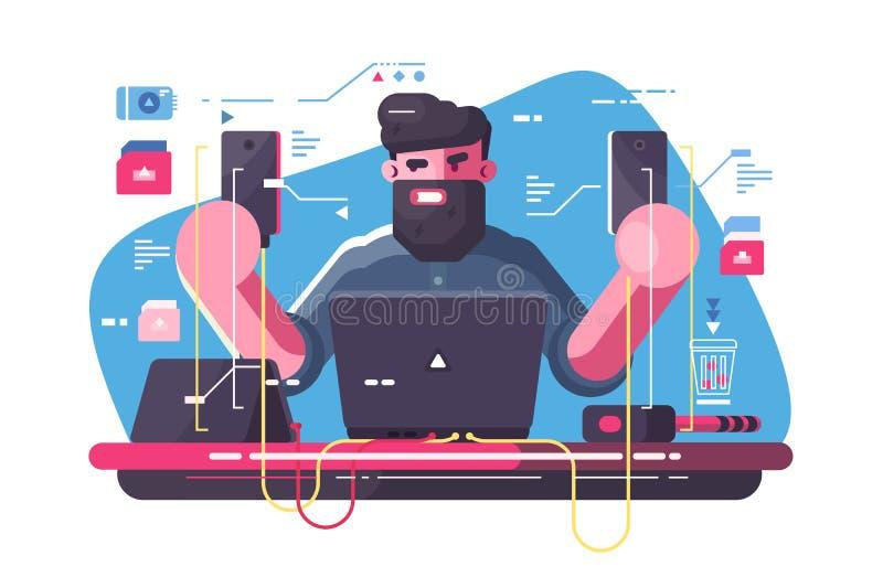 Desarrollador móvil en el lugar de trabajo ilustración del vector