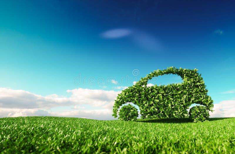 Desarrollo amistoso del coche de Eco, ecología clara que conduce, ningún pollutio ilustración del vector