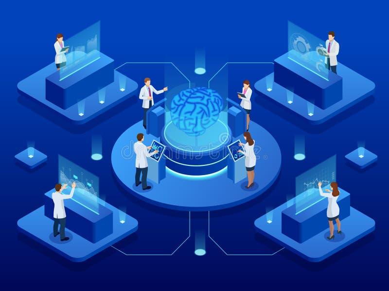 Desarrollo científico isométrico del concepto de la inteligencia artificial Cerebro eléctrico Laboratorio que investiga el cerebr ilustración del vector
