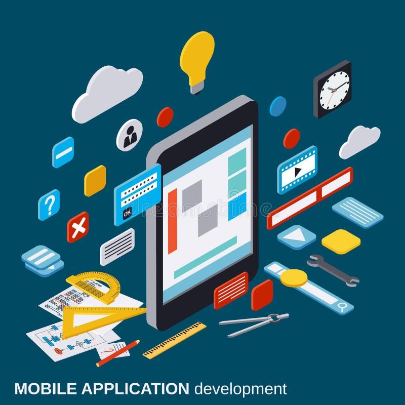 Desarrollo de aplicación móvil, proceso de SEO, concepto del vector de la optimización del algoritmo libre illustration