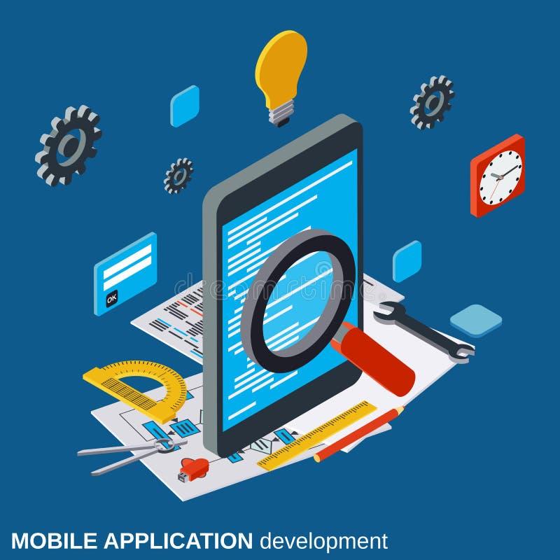 Desarrollo de aplicación móvil, programa que cifra, concepto del vector de la optimización del algoritmo ilustración del vector