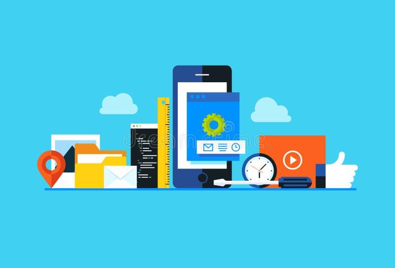 Desarrollo de aplicación móvil, programación del app del smartphone ilustración del vector