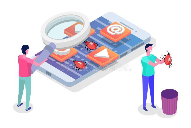 Desarrollo de aplicación móvil, prueba y vector isométrico del proceso de la creación de un prototipo ilustración del vector