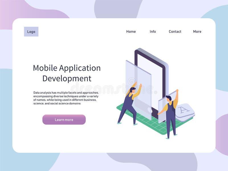Desarrollo de aplicación móvil Smartphone app del edificio del trabajador Ejemplo isométrico del vector de la tecnología stock de ilustración