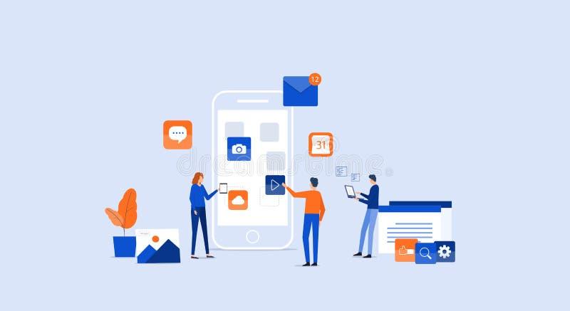 Desarrollo de aplicación móvil y proceso de diseño stock de ilustración