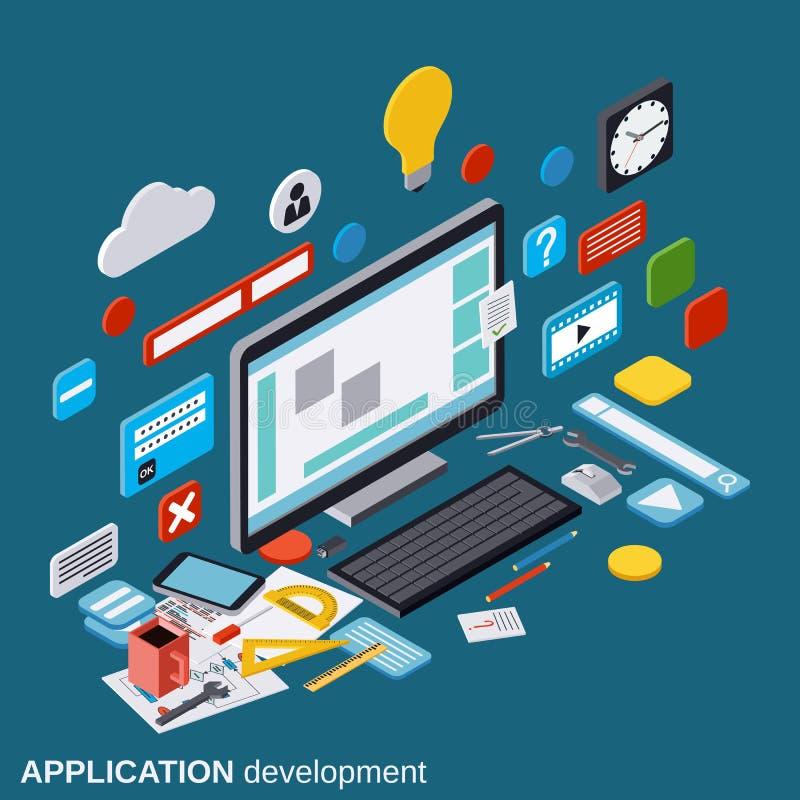 Desarrollo de aplicaciones, proceso de SEO, optimización del algoritmo, concepto del vector de la construcción del sitio web ilustración del vector