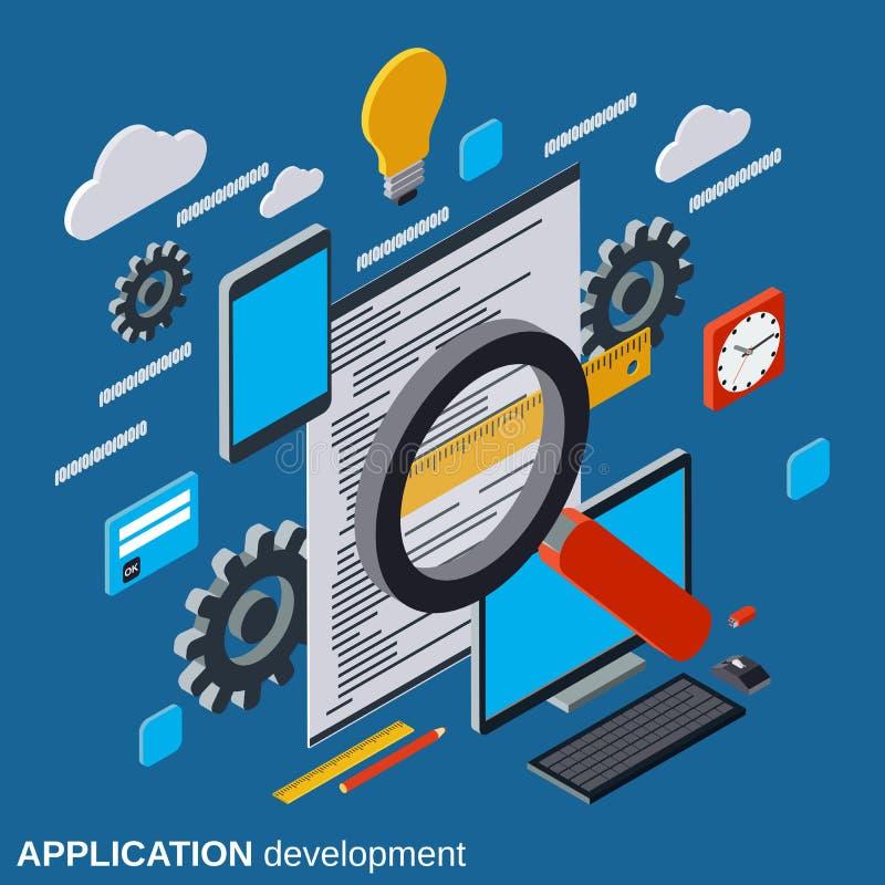 Desarrollo de aplicaciones, programa que cifra, concepto del vector de la prueba del software stock de ilustración