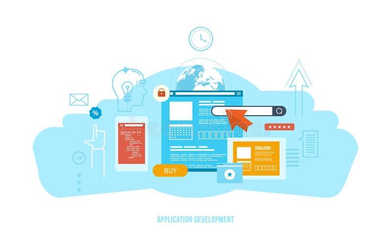 Desarrollo de aplicaciones, software, tecnología de la información moderna, comunicación, sistema de interacción stock de ilustración
