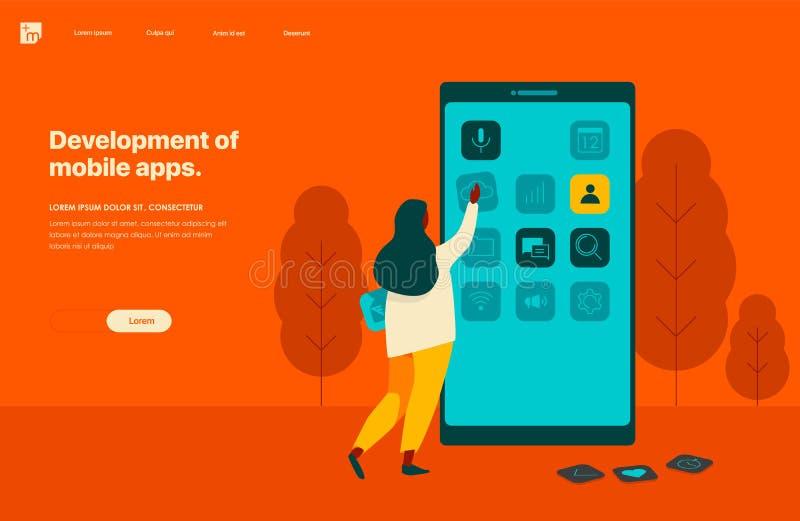Desarrollo de apps móviles Plantilla de aterrizaje de la página Bandera conceptual del web, infographic, caracteres ilustración del vector