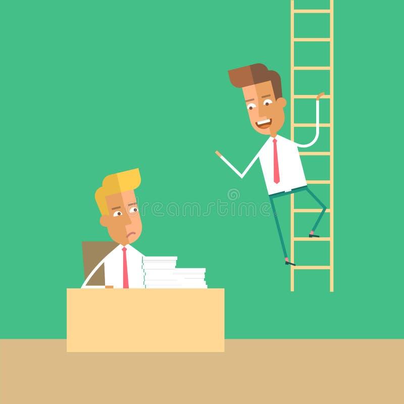 Desarrollo de carrera El hombre sube para arriba las escaleras stock de ilustración