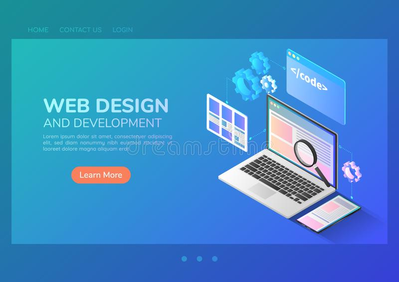 Desarrollo de la página web y diseño de interfaz isométricos del uso en el ordenador portátil ilustración del vector