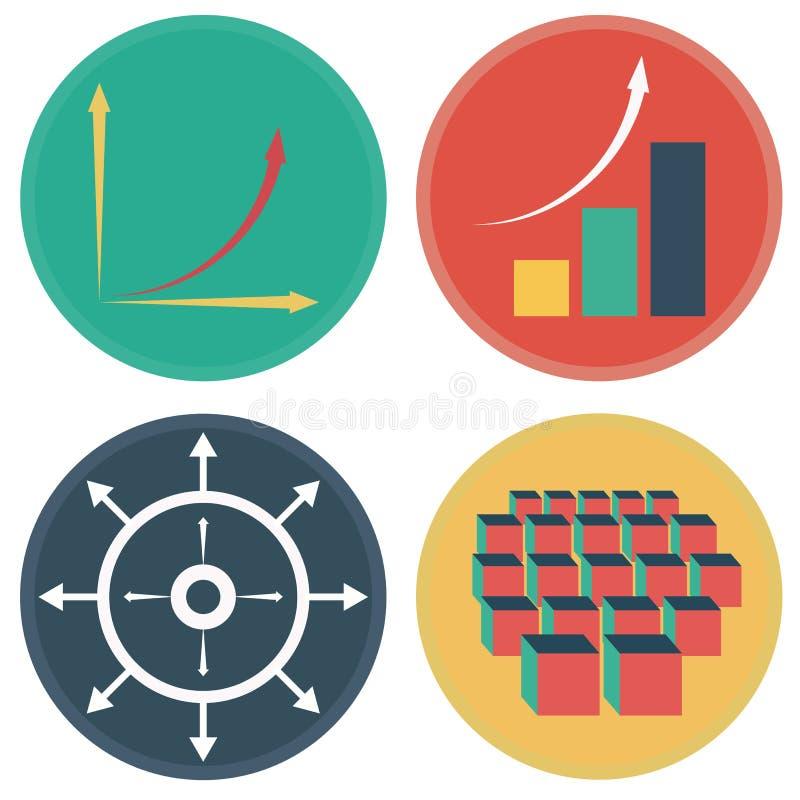 Desarrollo de los iconos del crecimiento exponencial stock de ilustración