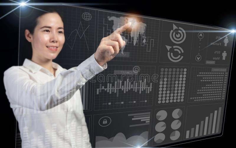 Desarrollo de negocios al concepto del éxito y del planeamiento, empresaria que señala el gráfico virtual del mapa del mundo y de foto de archivo