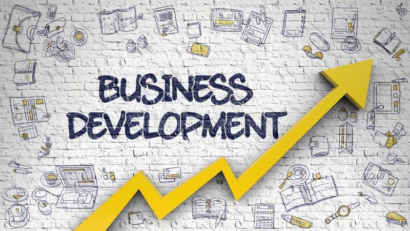 Desarrollo de negocios dibujado en Brickwall blanco 3d libre illustration