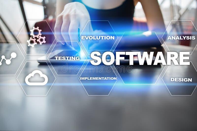 Desarrollo de programas Concepto de la tecnología de sistema de los programas de Digitaces de los datos stock de ilustración