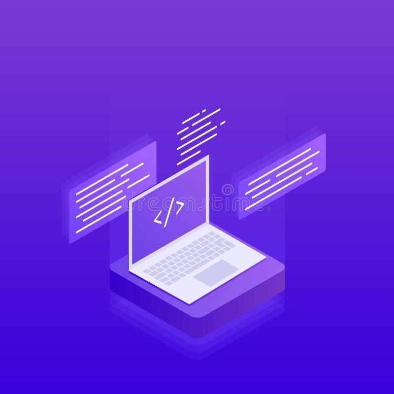 Desarrollo de programas La informática grande ilustración del vector