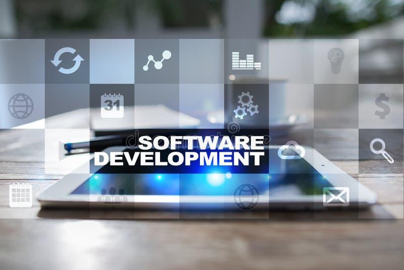 Desarrollo de programas Usos APPS para el negocio programación imagen de archivo